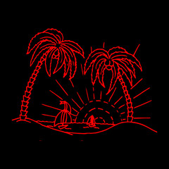Abstraction background, painted red landscape, palm and island at sunset, on black background,