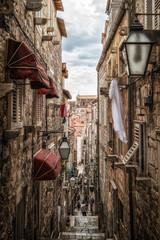 Foto op Canvas Smal steegje Famous narrow alley of Dubrovnik old town, Croatia