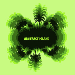 Abstract Fantastic Palm tree island, green silhouette with on light green background,