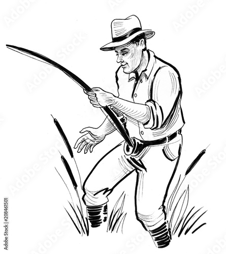 fishing man ink black and white drawing stock photo and royalty HP Ink Product ink black and white drawing