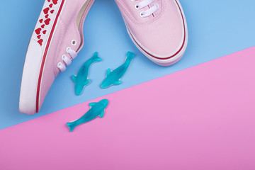 Fashion Trendy Sneakers with Heart. Pastel Pink Blue Color. Jellies candies sharks. Valentines day concept