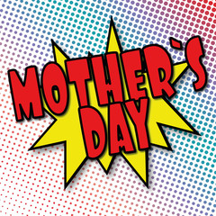 mothers day comic explosion retro design deal tag