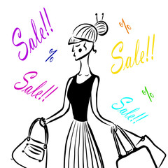 drawing of a fashion girl in a black T-shirt and a skirt comes with packages with a sale in the store, a sketch, a hand-drawn cartoon vector illustration