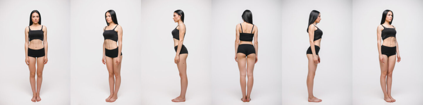 collage of serious young woman in black underwear standing over gray studio background. Snap, set.
