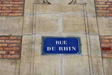 Rue du Rhin,  plaque de nom de rue