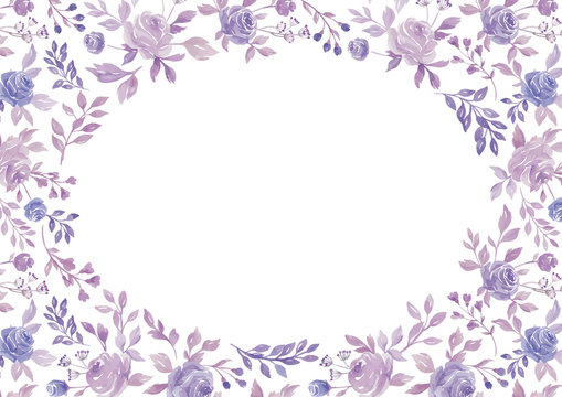 Watercolor purple flower and plant border white paper background