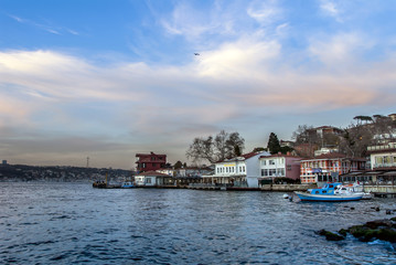 Istanbul, Turkey, 15 December 2017: Bosphorus and boats at cengelkoy
