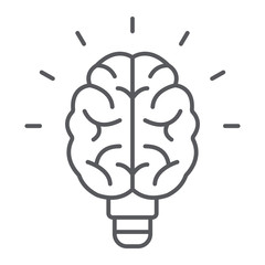 Light bulb brain thin line icon, school and education, knowledge sign vector graphics, a linear pattern on a white background, eps 10.