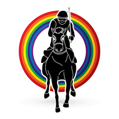 Jockey riding horse, hose racing designed on line rainbows background graphic vector.