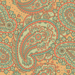 Paisley style Floral seamless pattern. Ornamental Damask background