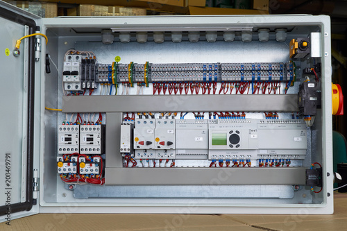 Wondrous Modern Electrical Control Cabinet With Controller And Circuit Wiring 101 Cranwise Assnl