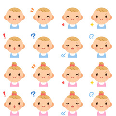 Isolated set of cute baby boy & girl flat avatar expressions