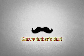 black and white. noir, father's day concept. minimalism. moustache, yellow background, holiday symbol. greeting card