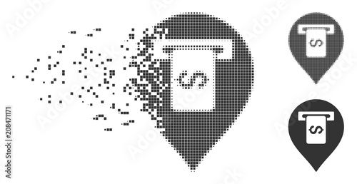 Dissolved cash terminal pointer pixel icon with disintegration