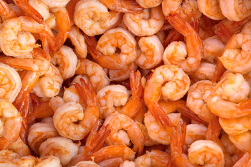 Boiled shrimps, peeled for cooking