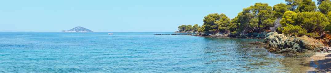 Kelifos island view from Sithonia, Greece.