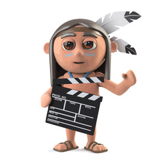 Vector 3d Funny cartoon Native American Indian boy is making a movie with clapperboard