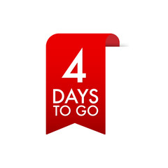 4 Days to go Red Label. Red Web Ribbon. Vector stock illustration.