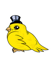 A cute canary bird with a top hat. Vector illustration