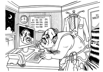 A trans business man crying and putting on make up in front of his office computer. Vector illustration