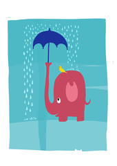 A pink elephant protecting a bird from the rain with an umbrella. Vector illustration