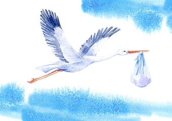 Stork with baby boy and sky.Newborn picture. Watercolor hand drawn illustration.White background.