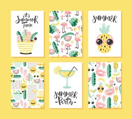 Vector set of bright summer cards.