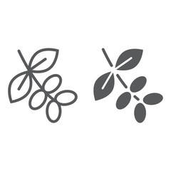 Coffee tree branch line and glyph icon, coffee and cafe, nature sign vector graphics, a linear pattern on a white background, eps 10.