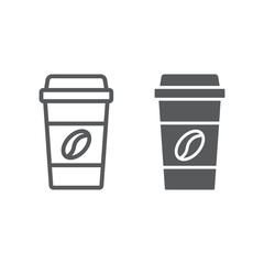 Disposable coffee cup line and glyph icon, coffee and cafe, paper cup sign vector graphics, a linear pattern on a white background, eps 10.
