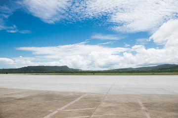 empty runway and cloudy in sky on summer