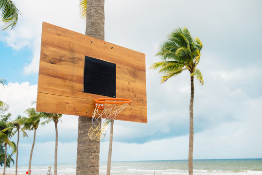 Basketball equipment on tropical island. Empty basket. Outdoor sport game. Active lifestyle in summer vacation. Streetball playing. Basketball in palm garden. Basketball field. Sunny day outside