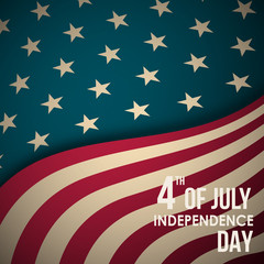 Retro banner with American flag and text. 4th of July Independence Day. Vector greeting background.
