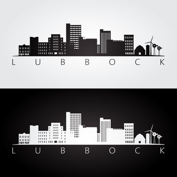 Lubbock, USA skyline and landmarks silhouette, black and white design, vector illustration.