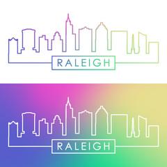 Raleigh skyline. Colorful linear style. Editable vector file.