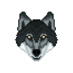 Portrait of a Wolf in pixel art style. Vector illustration.