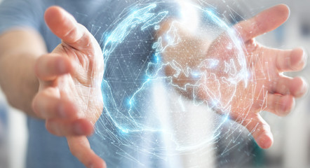 Businessman using globe network hologram with Europe map 3D rendering
