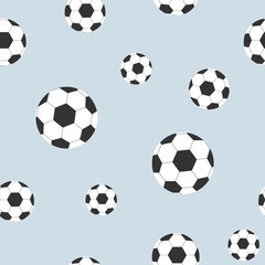 Seamless pattern from soccer balls on background Decorative design element of fabric wallpaper covers for the game sports football Sports seamless background with soccer balls Vector football pattern