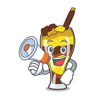 With megaphone mangonada fruit character cartoon