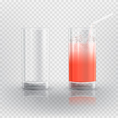 Set of realistic glasses. Vector illustration with 3d transparent empty glass and with juice.