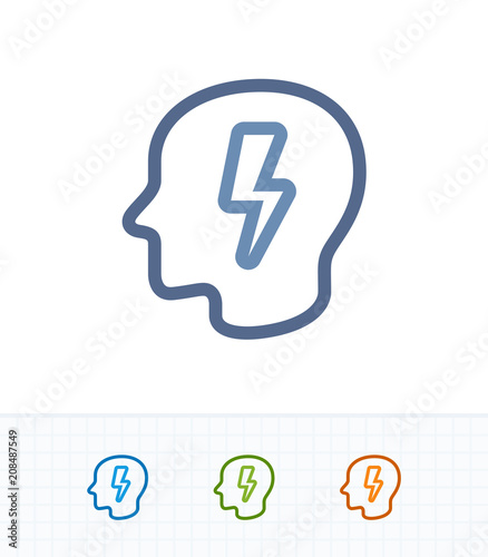Head & Lightning Bolt - Contrast Imprint Icons . A professional ...