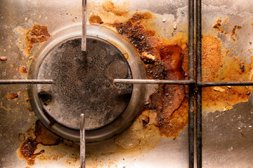dirty gas cooker, close-up, top view. Wall mural