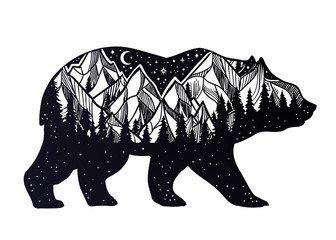 Bear and night forest mountain landscape, double exposure, wildlife tattoo art, fantasy style.