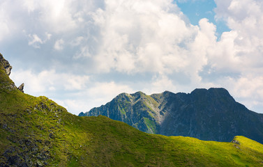 rocky ridge behind the grassy hill under the cloud. lovely mountainous scenery in summer