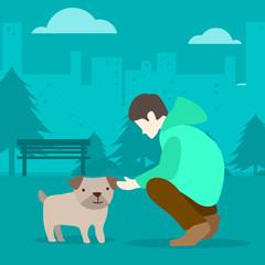 Boy and his dog illustration