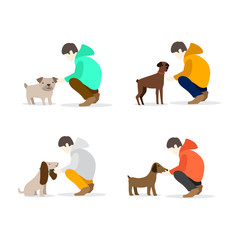 Boy and his dog illustration