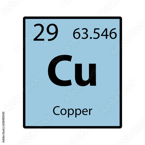 Copper Periodic Table Element Color Icon On White Background Vector