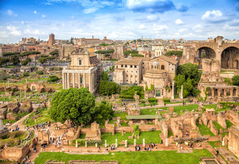 Roman forum ancient ruins in rome, Italy. Rome architecture and landmark.