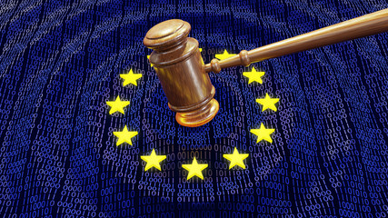EU judge hammer hitting GDPR data bits and bytes sentencing European Union fine
