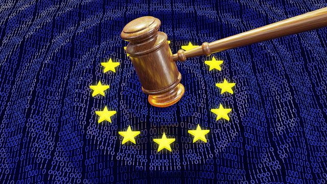 EU judge hammer hitting GDPR data bits and bytes sentencing European Union fine
