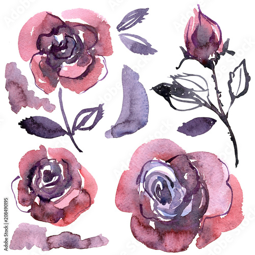 Watercolor Hand Painted Purple Roses Elements For Design Of Invitations Wedding Cards Birthday